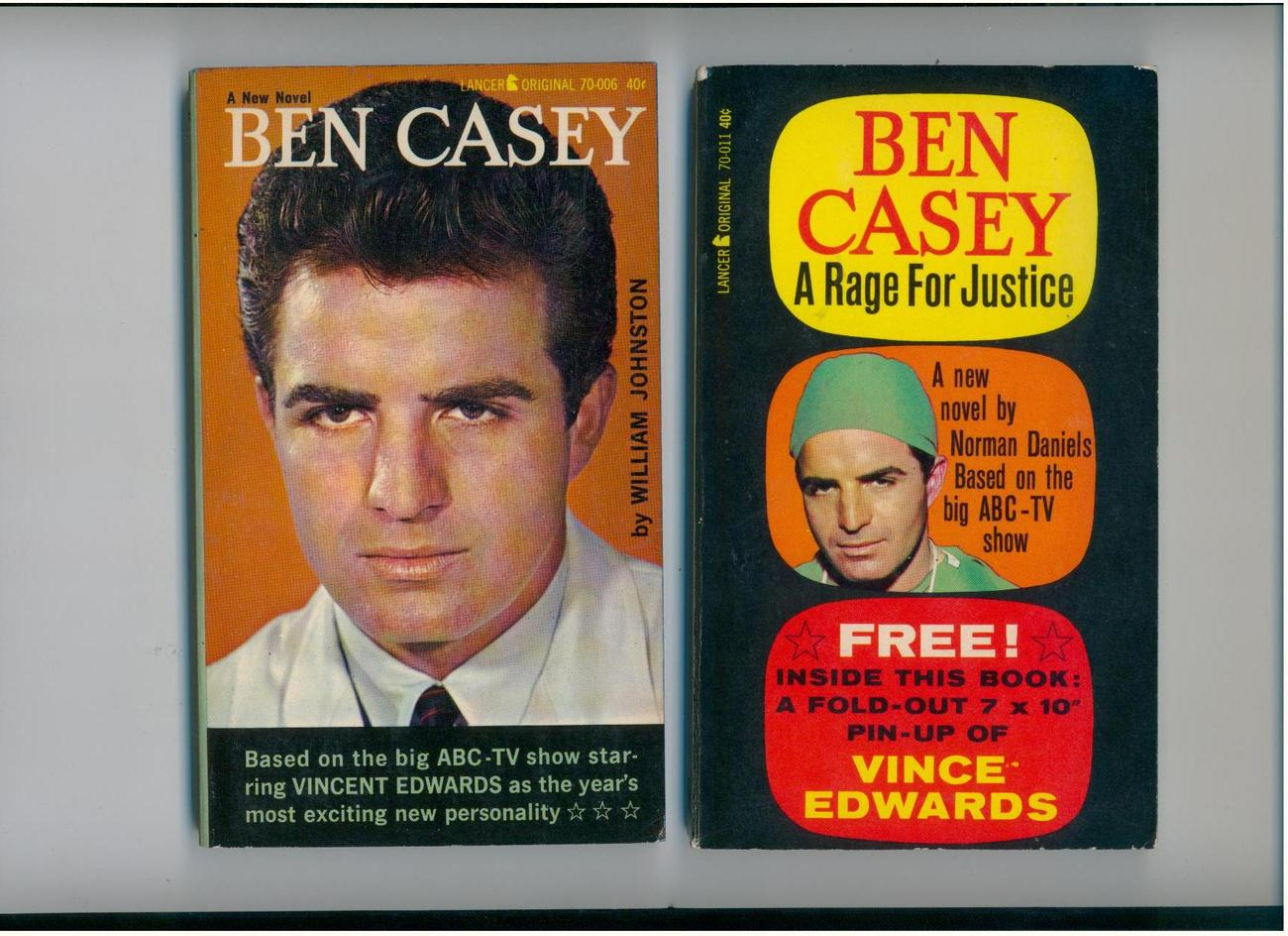 2 BEN CASEY tv tie-in pbs--1962--includes V. Edwards pin-up
