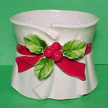 Lefton China Christmas Holly Berries Planter Candy Dish