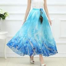 Bohemian Printed Long Chiffon Women Maxi Skirt image 2