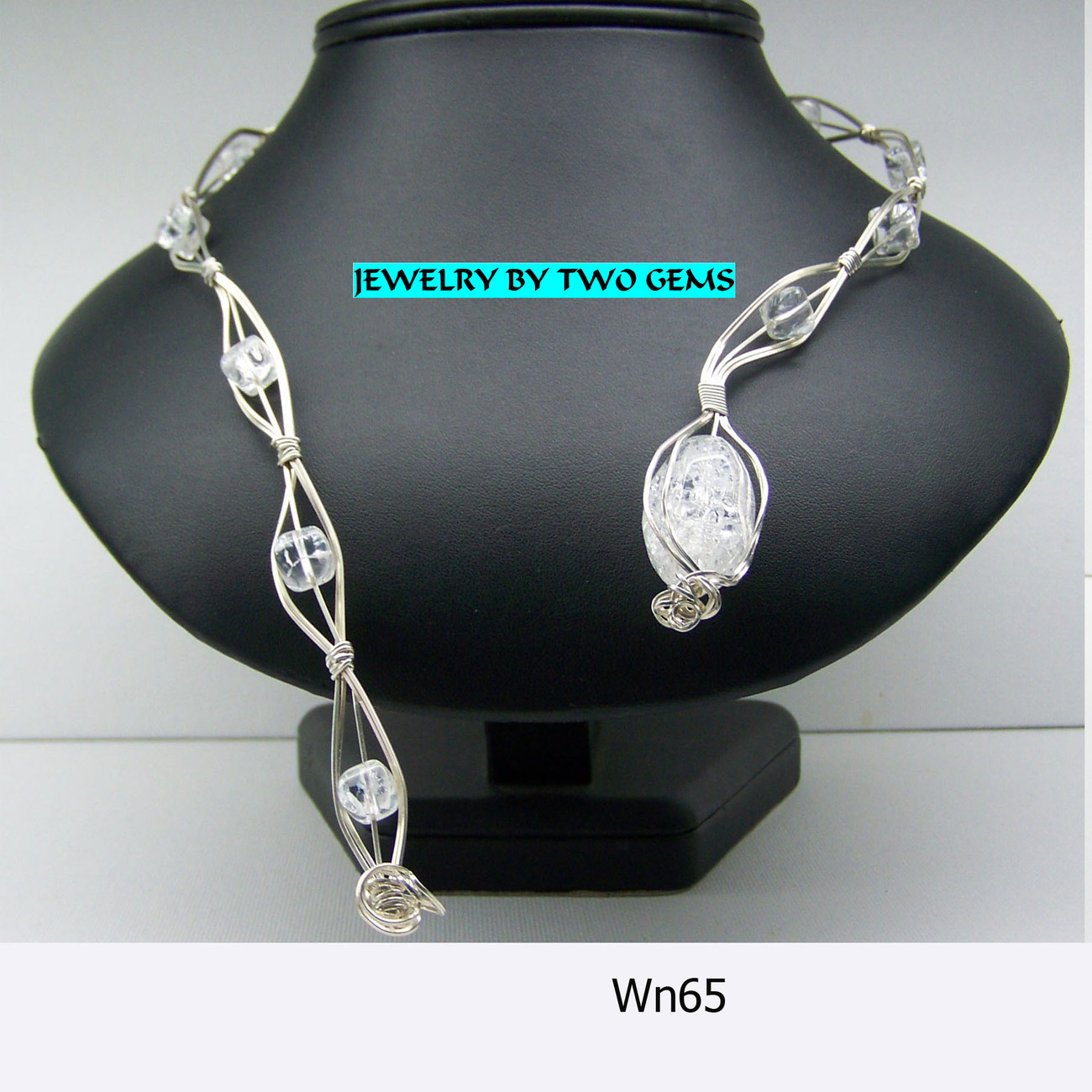 Jewelry By Two Gems (Wn65) Sterling Silver Wire Wrap Necklac
