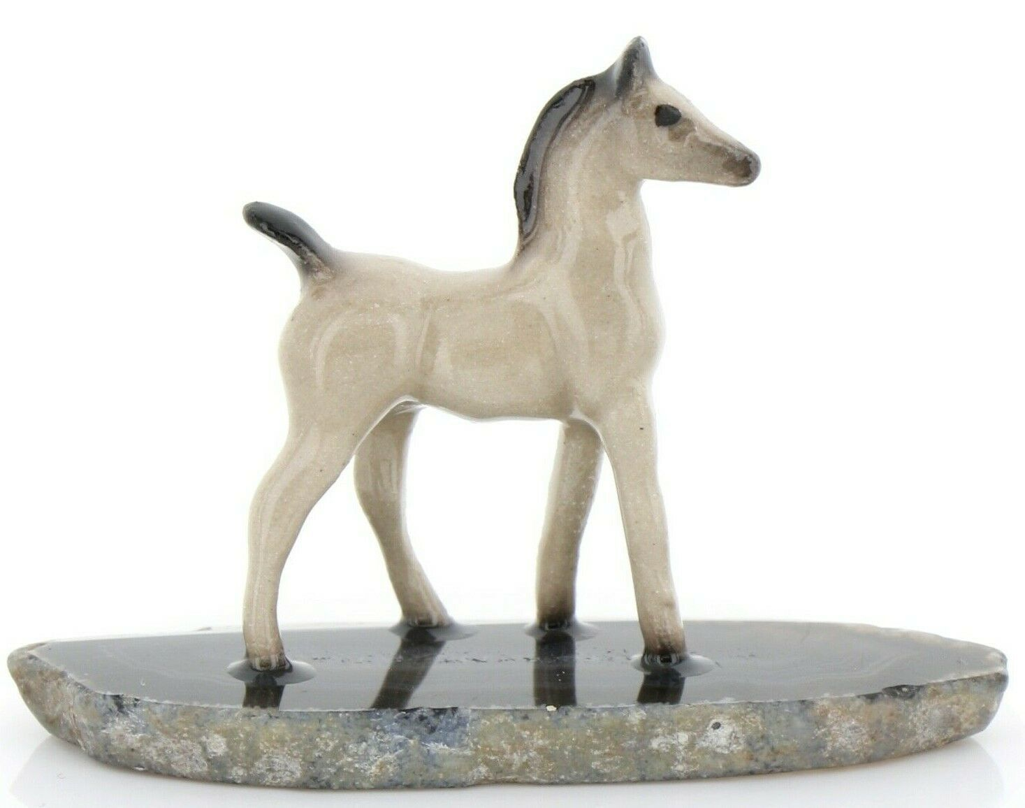 Stepping Stones Fairy Garden Miniature Tiny Gray Horse on Quartz Base #2745
