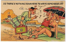 Comic Postcard Curt Teich Nothing Down Here To Write Home About - $2.26