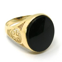 18K YELLOW GOLD BAND MAN RING, OVAL CABOCHON BLACK ONYX, COMPASS WIND ROSE image 1
