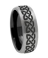 Tungsten Carbide Dome Celtic Wedding Band Ring - Silver Black Color - Pr... - $39.99