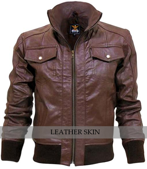 Brown justin beiber leather jacket front