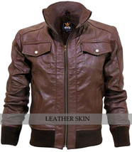 Brown Men Boys Justin Beiber Fashion Stylish Sexy Premium Genuine Leather Jacket - $179.99