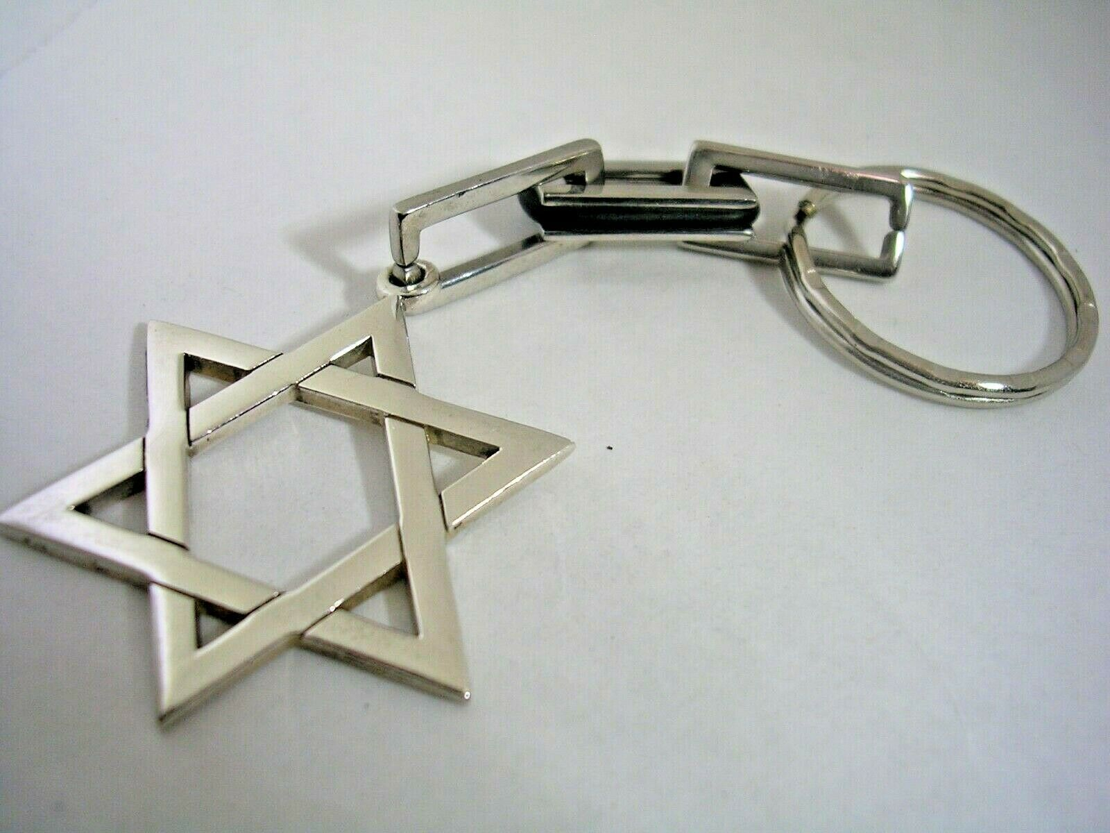 Primary image for JEWISH STAR KEY CHAIN WITH A HIGH POLISHED FINISH IN STERLING SILVER