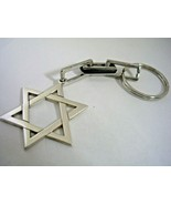 JEWISH STAR KEY CHAIN WITH A HIGH POLISHED FINISH IN STERLING SILVER - $23.33