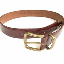 Fossil Leather Belt Brown Medium 32 34 Gold Brass Buckle Western Women - £19.95 GBP