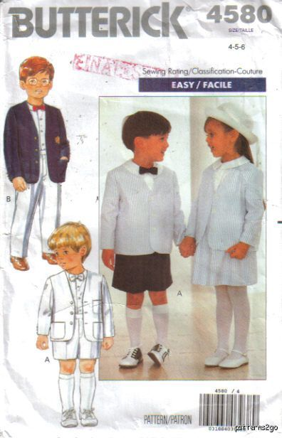 Butterick 4580 Jacket Shirt Skirt Shorts Pants Boy Girl 4-5-6 Butterick