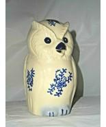BLUE DELFT Blue Flower OWL Creamer Porcelain Flower Accents Blue Hue Bea... - $22.76
