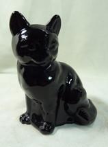 Fenton Sitting Cat Black Ebony Glass Kitten Kitty - $65.44