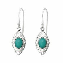 925 Sterling Silver - Teal Stone Drop Earrings for Women in Gift Box - $17.10