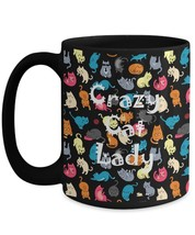 CRAZY CAT LADY Gift Cat Moms Unique Colorful Design Novelty Coffee Mug Tea Cup - $17.77+