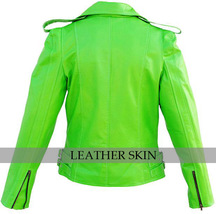 NWT Punk Green Brando Fashion Stylish Sexy Premium Genuine Leather Jacket image 2