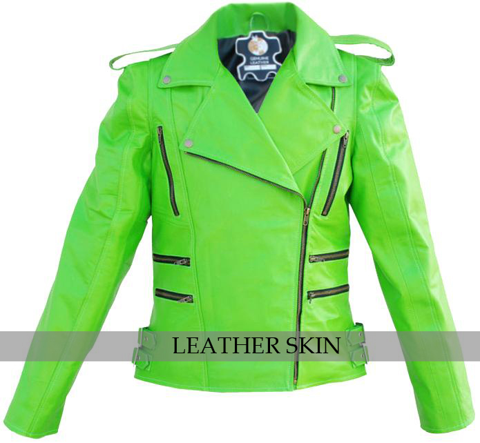 NWT Punk Green Brando Fashion Stylish Sexy Premium Genuine Leather Jacket