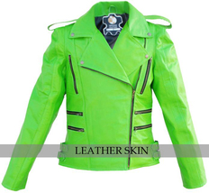NWT Punk Green Brando Fashion Stylish Sexy Premium Genuine Leather Jacket image 1