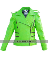 NWT Punk Green Brando Fashion Stylish Sexy Premium Genuine Leather Jacket - $179.99