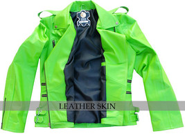 NWT Punk Green Brando Fashion Stylish Sexy Premium Genuine Leather Jacket image 3
