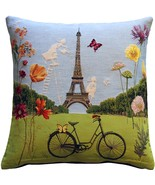 Pillow Decor - Eiffel Tower in Spring Tapestry Throw Pillow - $79.95