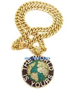 The World Is Yours Iced Out Pendant With 24 Inch Cuban Link Rhinestone N... - $79.95