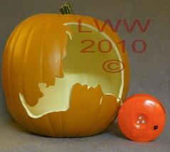 Hand-carved Vampire & Woman Foam Jack-o-lantern Pumpkin Halloween - $29.99