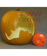 Hand-carved Vampire & Woman Foam Jack-o-lantern Pumpkin Halloween - $29.99