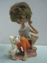 Antique figurine in faience lady or doll with hair made in Western Germa... - $31.21