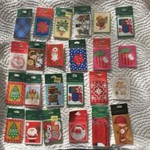 Vintage Hallmark Christmas Gift Tags Lot Santa Snowman Trees Train Sled ... - $44.54
