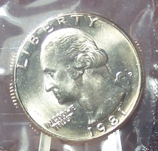 1981-D Washington Quarter MS65 In the Cello #516 - $4.79