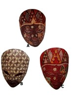 Small Indonesian Wood Mask, Hand painted wooden Indonesian Mask, wall mask - $14.98