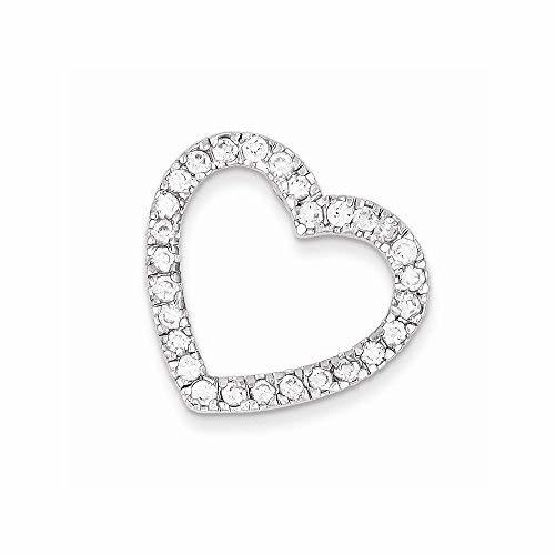 Primary image for Sterling Silver Cz Heart Slide Pendant, Best Quality Free Gift Box