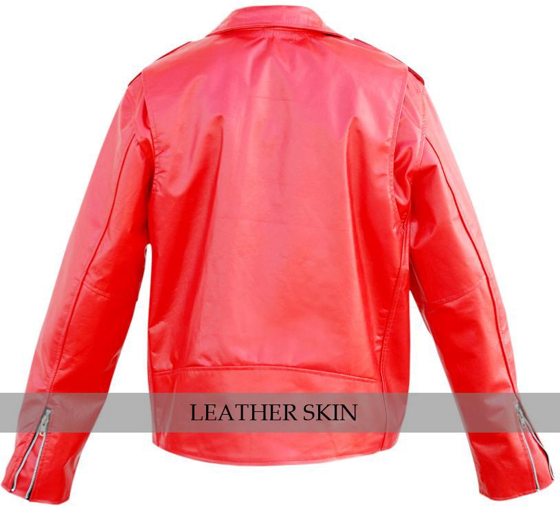 NWT Stylish Men Punk Red Brando Belted Leather Jacket w/ front pocket image 2