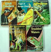 Sandy Steele Adventures 5 LOT #1-4, & 6 Roger Barlow Simon & Schuster hcdj - $56.00
