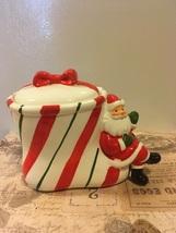 Vintage Christmas Striped Stocking Santa Ceramic Candy Jar - $14.00