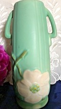 1930's WELLER POTTERY TURQUOISE CAMEO ROSE VASE W 2 HANDLES SIGNED - $42.00