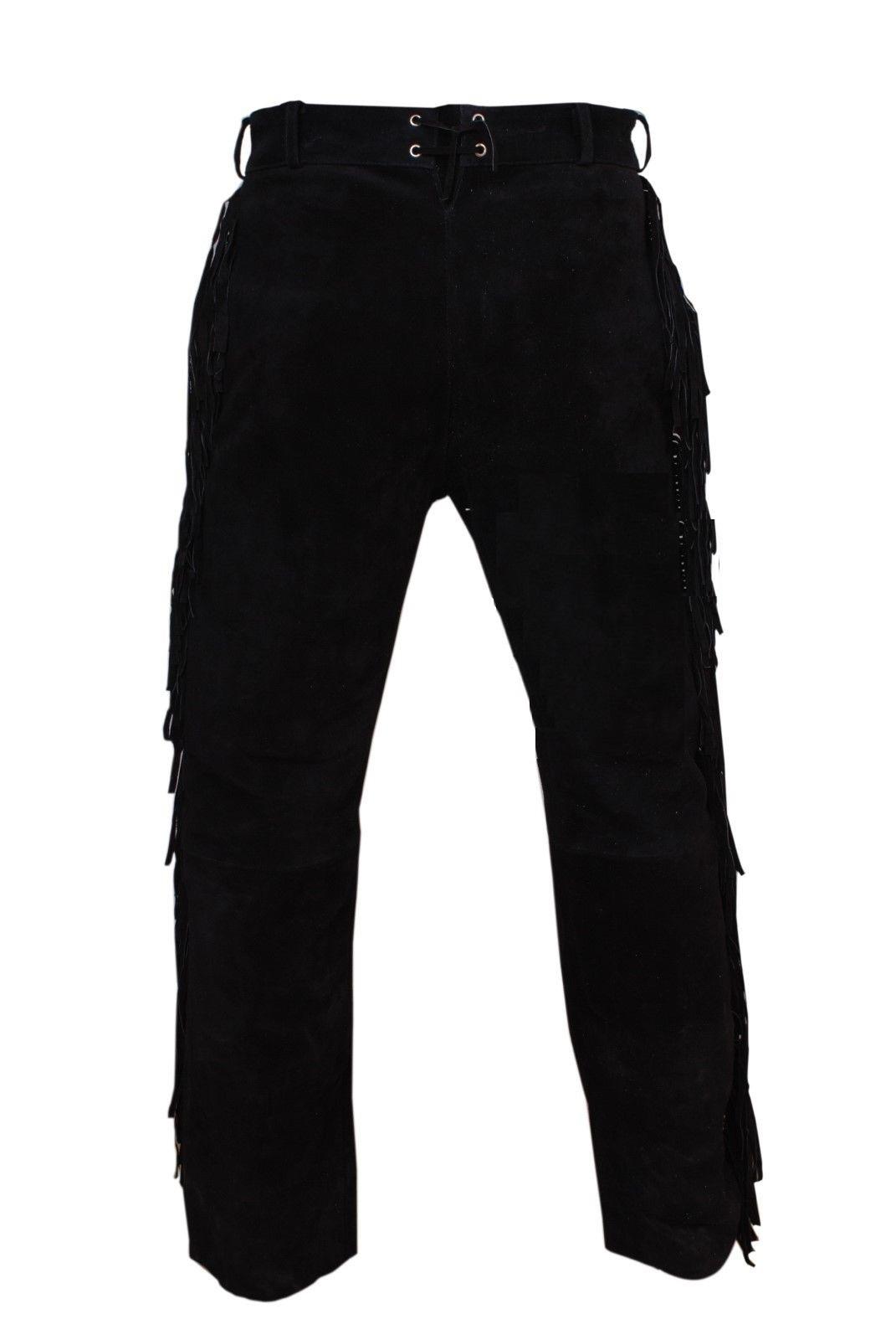 Men New Native American Buckskin Black Goat Suede Leather Bead Shirt & Pant WS69 image 8
