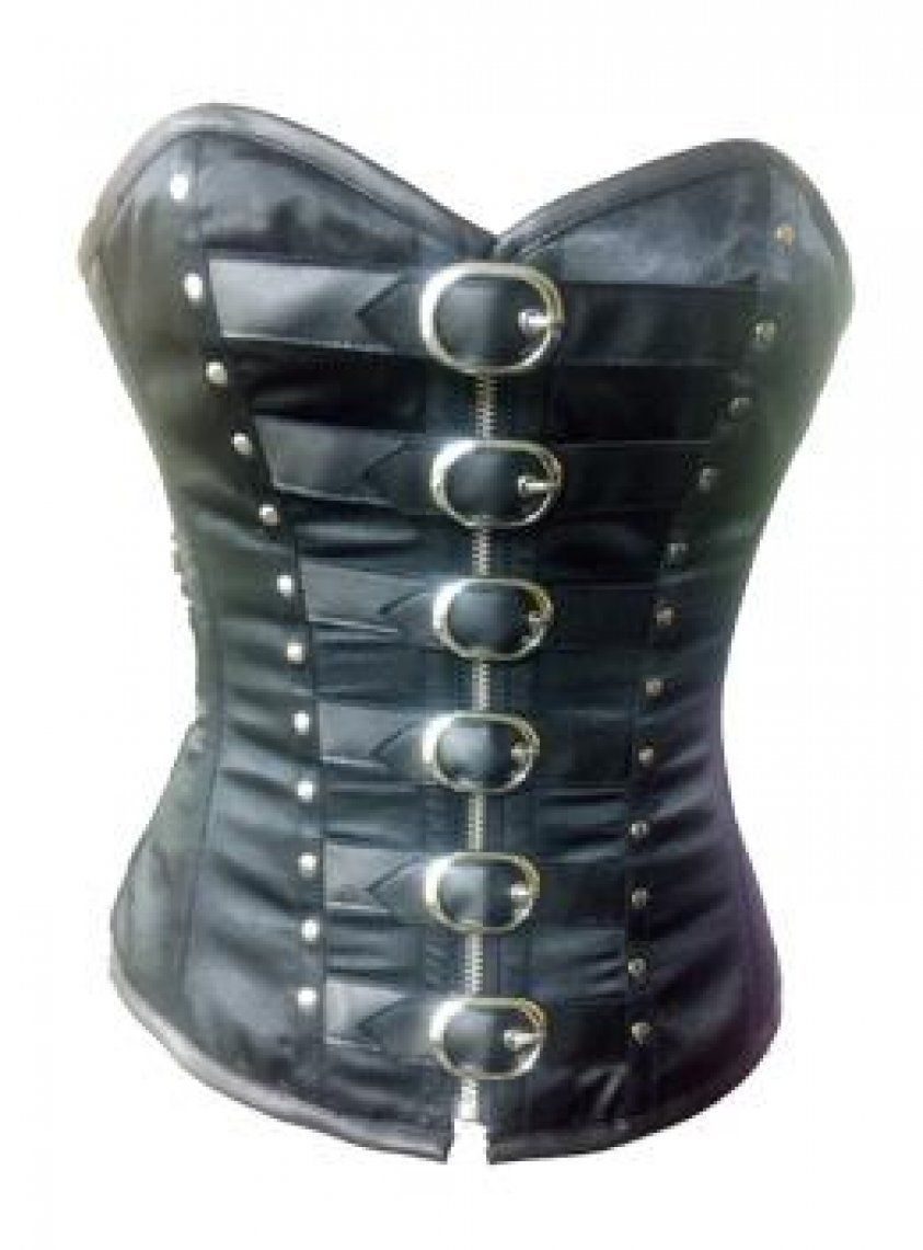 Primary image for Black Leather Belts Zip Gothic Steampunk Bustier Waist Training Overbust Corset