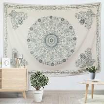 "Wall Hanging 59"" x 82"" Mandala Black & Off-White Natural Tones Floral Ta... - $39.00"