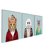 Gardenia Art - Series 6 Animal World White Grey and Yellow Cats Canvas P... - $31.90