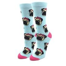 Lady Pug Socks Blue Fun Novelty One Size Fits Most Dress Casual Dog Puppy - $11.98
