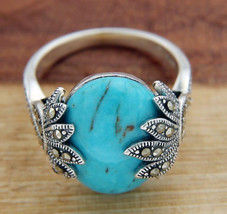 925 Sterling Silver Oval TURQUOISE and MARCASITE Ring Size 9 » R323 - £33.14 GBP