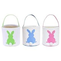Easter Egg Hunt Basket for Kids Bunny Canvas Tote - Party's Celebrate De... - $20.06