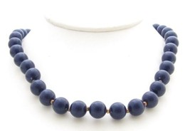 Vintage Dark Blue Lucite Beaded With Gold Tone Spacers Necklace*Jewelry*... - $11.88