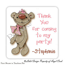 40 Teddy Bear w/Pink Ribbon Girl Birthday Party Favor Labels Stickers - $4.95