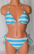 Surfside Women's Teal Blue-White Striped Side Tie Bikini Set Size: L