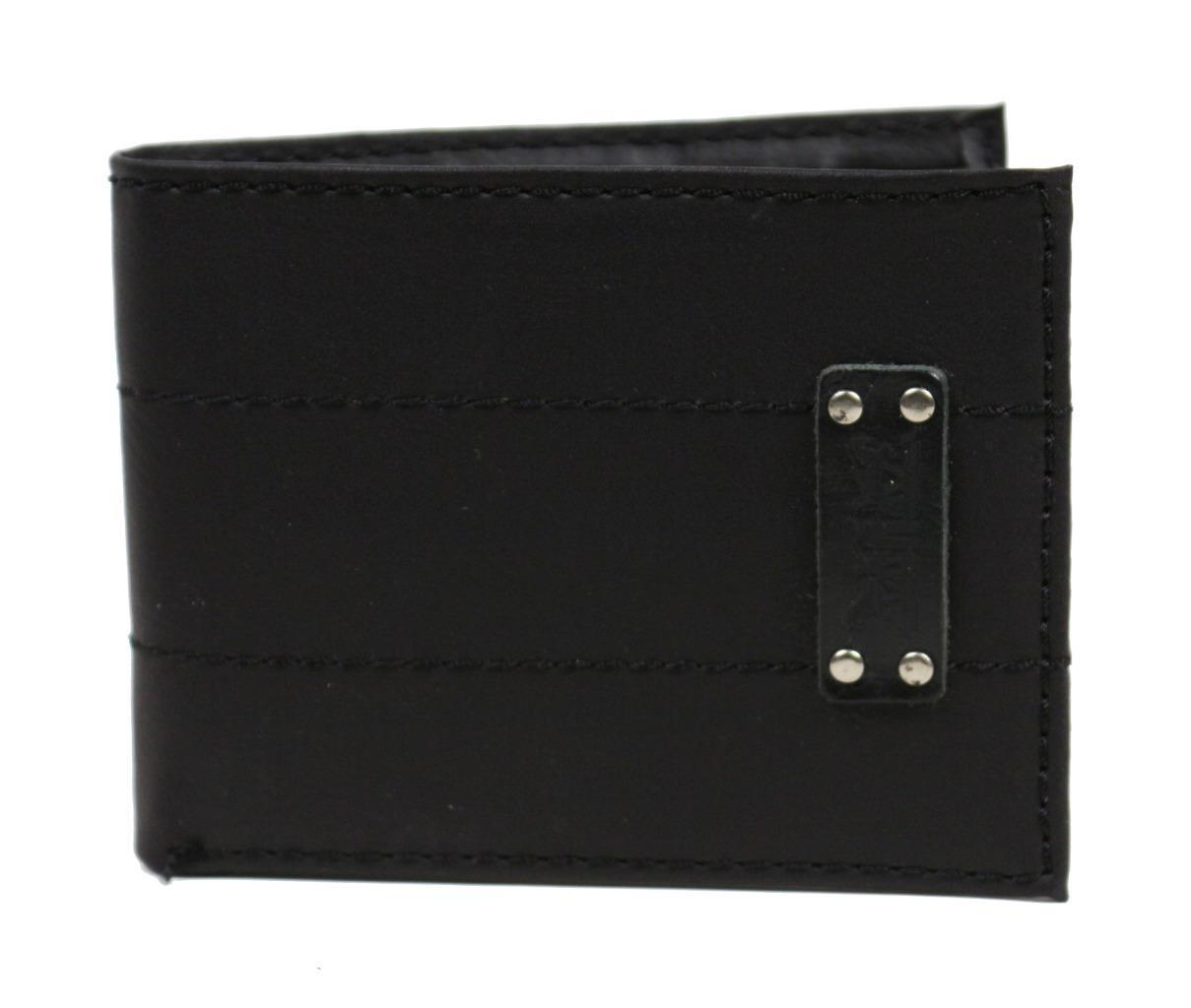 NEW LEVI'S MEN'S COATED LEATHER MANMADE INTERIOR SLIMFOLD WALLET BLACK 31LV13C8
