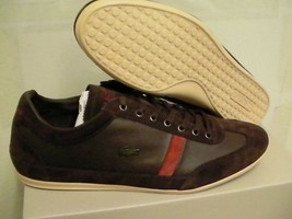 Lacoste shoes misano 22 spm leather/suede dark brown size 10.5 us - $98.95