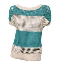 Ann Taylor LOFT Women's Blue White Color Block Mesh Short Sleeve Sweater... - $20.68 CAD