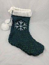 "Christmas Knit Stocking Fleece Lined 18"" Green Blue Snowflake - $11.95"